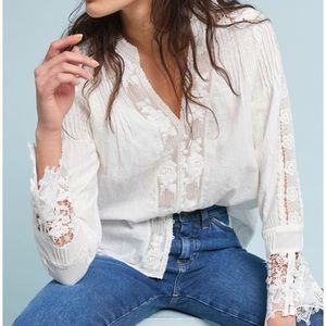 Eri + Ali White Lace Detail Button Front Top Sz XS